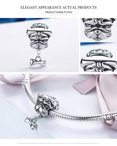 Genuine 925 Sterling Silver Cute Bulldog  Doggy Blue CZ Charms fit Women Bracelets Jewelry