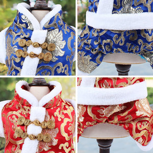 Satin Blue Red  Coat Vest Tang Suit Geometric Patterns Warm Soft Comfortable  5 Sizes 2 Colors