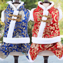 Load image into Gallery viewer, Satin Blue Red  Coat Vest Tang Suit Geometric Patterns Warm Soft Comfortable  5 Sizes 2 Colors