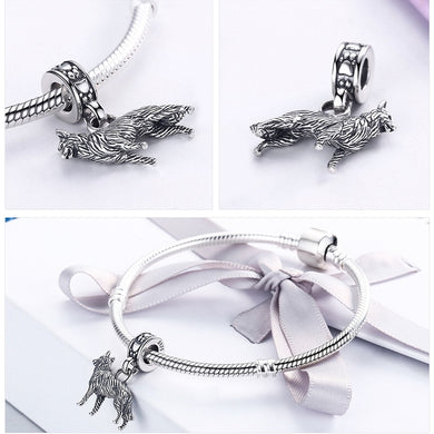 Real 925 Sterling Silver Sheepdog Doggy Pendant Charm Bracelet