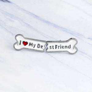 "2pcs/set ""I Love My Best Friend"" Enamel pin Cute Cartoon bone pins great Gift Jewelry for dog lovers"