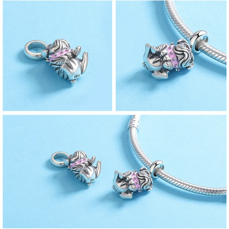Authentic 925 Sterling Silver Cute English Bulldog Dog Charm for Bracelets & Necklaces