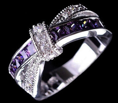 High Quality CZ Cubic Zirconia Purple Crystal Cross Bow Princess Ring For Women , Great Gift Idea