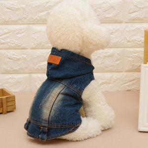 Trendy Style Pet Dog Puppy Clothes Denim Vest Coat Cozy Hoody  6 Sizes