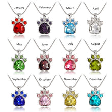 Load image into Gallery viewer, 12 Months Birthday crystal Dog paw pendant necklace  Jewelry Dog Necklace Gift for Dog Lovers
