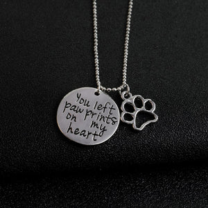 """You left paw Prints on my heart""  Dog Paw Claw Pendant Necklaces Silver Dog Jewelry Gift for Dog lovers"