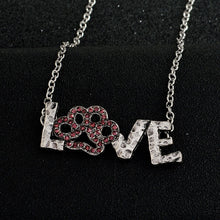 "Load image into Gallery viewer, ""LOVE"" Pendant necklace Pink Rhinestone PAW. Great Gift for Dog lovers Jewelry"