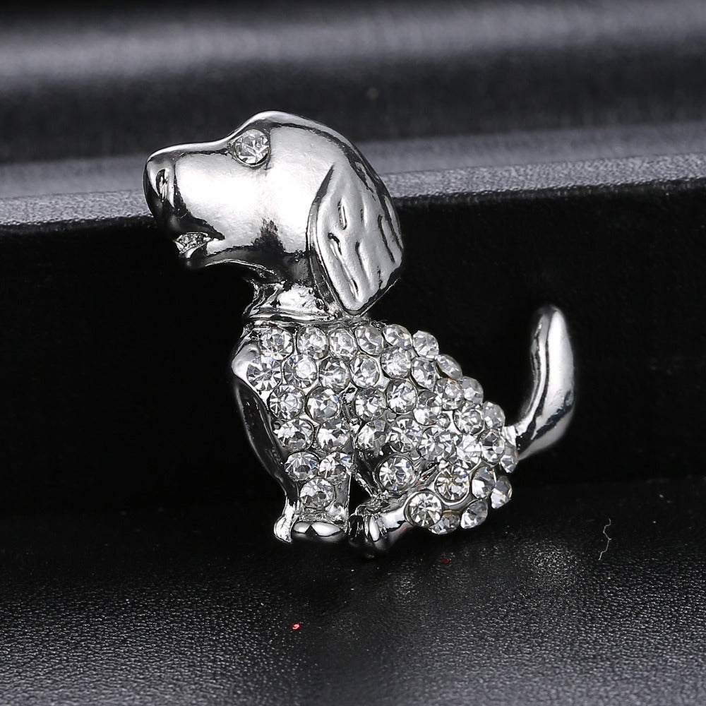 Silver Rhinestone Dog Brooch pin Cute Gift Crystal Brooch Jewelry