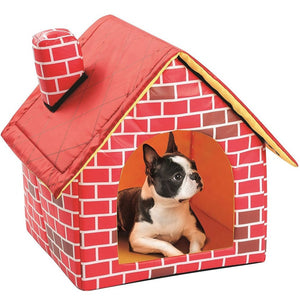 Dog House Foldable Soft Warm Brick Print Dog Bed/ House Cute Kennel/