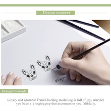 Load image into Gallery viewer, 100% 925 Sterling Silver Loyal Partners French Bulldog Dog Small Stud Earrings for Women