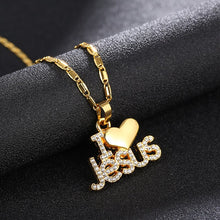 "Load image into Gallery viewer, Fashion Crystal ""I Love Jesus"" Heart Pendant Necklace With Metal Chain Letter Rhinestone Religion Christian Jewelry Great Gift"