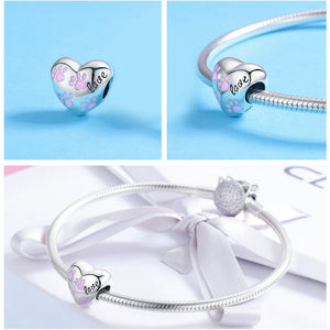 Trendy New 925 Sterling Silver Love Dog Footprints in Heart Shape For Bracelets, Necklace