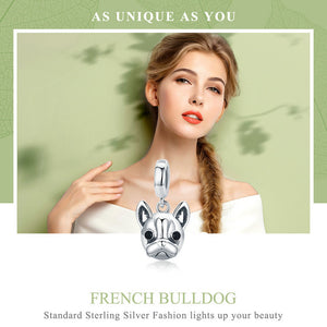 Cute 925 Sterling Silver Animal Bulldog Pendant Dog Charm fit Women Charm Bracelets & Necklaces Jewelry