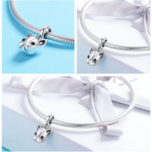 Load image into Gallery viewer, Cute 925 Sterling Silver Animal Bulldog Pendant Dog Charm fit Women Charm Bracelets & Necklaces Jewelry