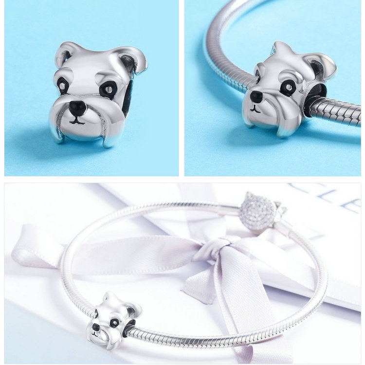 100% 925 Sterling Silver Lovely Schnauzer Dog Charm for Bracelets & Necklaces