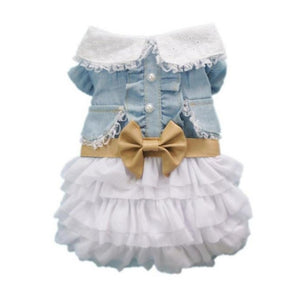 Fashion Cute Dog Wedding Dress Skirt Summer Luxury Princess Clothes Denim Skirt