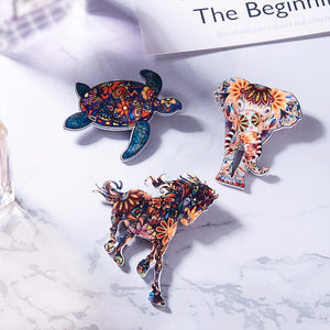 Acrylic Animal Brooches Dog, Bird,Cat, Horse, Elephant, Turtle, Horse Brooches Cute Brooch Animal Jewelry Great Gift