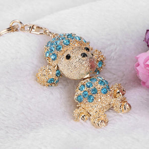 Cute Lovely Pet Dog Bling Pendent Crystal Keychain