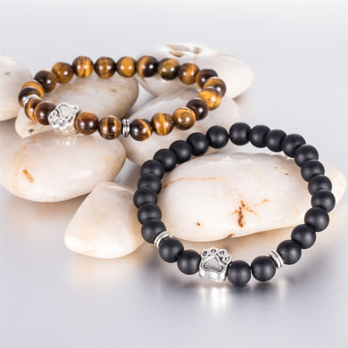 Natural Stone bracelet Yoga Bracelet Dog Paw Elastic Rope Bead Bracelet Fashion Jewelry for Dog Lovers