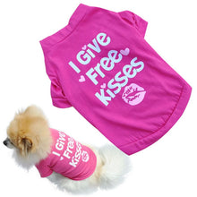 "Load image into Gallery viewer, summer spring dog vest cotton T-shirt puppy doggy shirt ""I Give Free Kisses"" print"