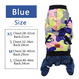 Warm Camouflage Dog Hoodie Fleece Lined Coat/ Sweater Jumpsuit Apparel Jacket
