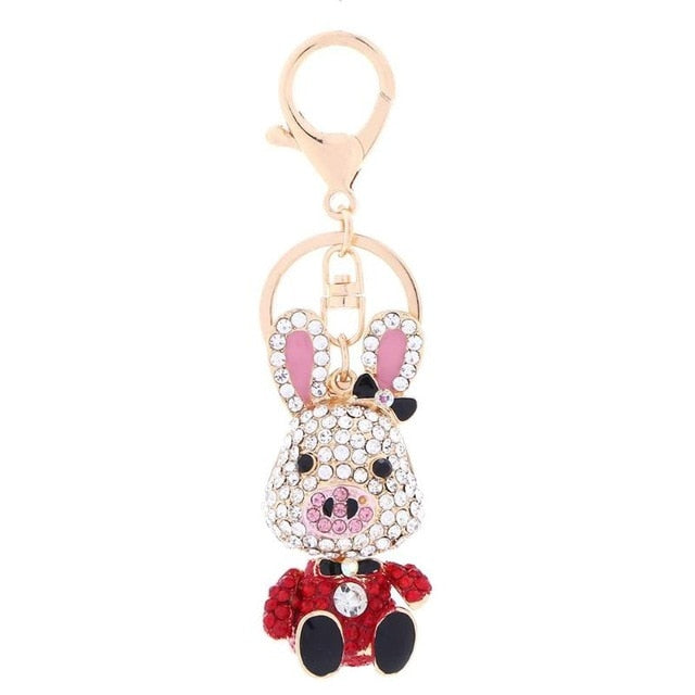 Crystal Rhinestone Key Chains;  Poodle, Dachshund, cat, Elephant, Pig, Squirrel
