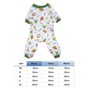 Dog Pajamas Cotton  Jumpsuit Sleeping Clothes Apparel Clothing for Dogs