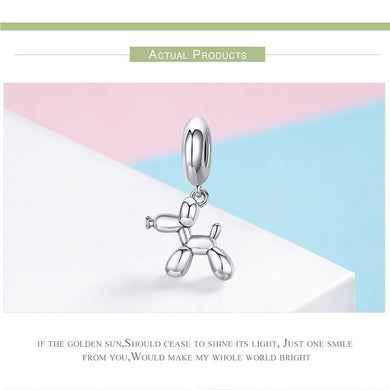 Genuine 925 Sterling Silver Balloon Dog Pendant Charm for Charm Bracelets & Necklace Silver Jewelry