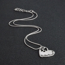 "Load image into Gallery viewer, ""My Dog Rescued Me""  Paw Claw Heart Pendant Necklace  Jewelry Special Gift for Dog Lovers"