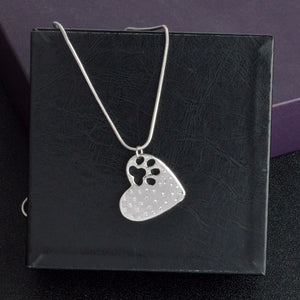 """My Dog Rescued Me""  Paw Claw Heart Pendant Necklace  Jewelry Special Gift for Dog Lovers"