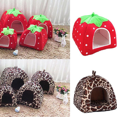 Cute Strawberry/Giraffe  Dog House Kennel Fashion Warm Bed House Cave Nest For Doggy