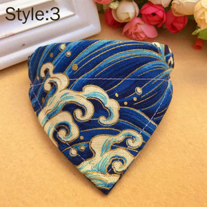 Dog Collar Scarf Adjustable Printed Classic  Neckerchief Bandanna