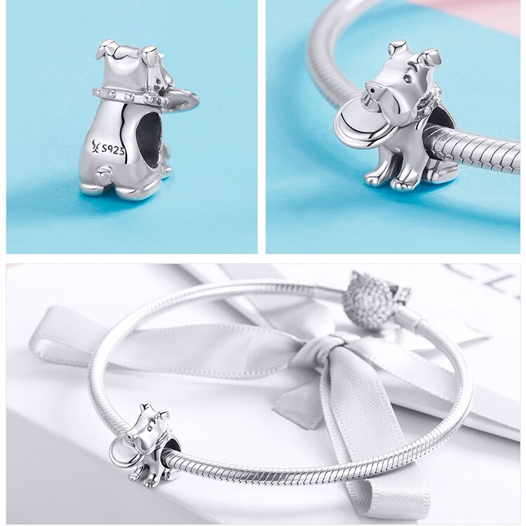Authentic 100% 925 Sterling Silver Dog Charm Fits Bracelets & Necklaces Cute Real 925