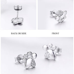 925 Sterling Silver Dog Footprints Exquisite Stud Earrings for Women Fashion Jewelry Great Gift