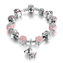 Load image into Gallery viewer, Silver  Lovely Dog Pink Heart Flower Charms Bracelets For Women Fashion Jewelry