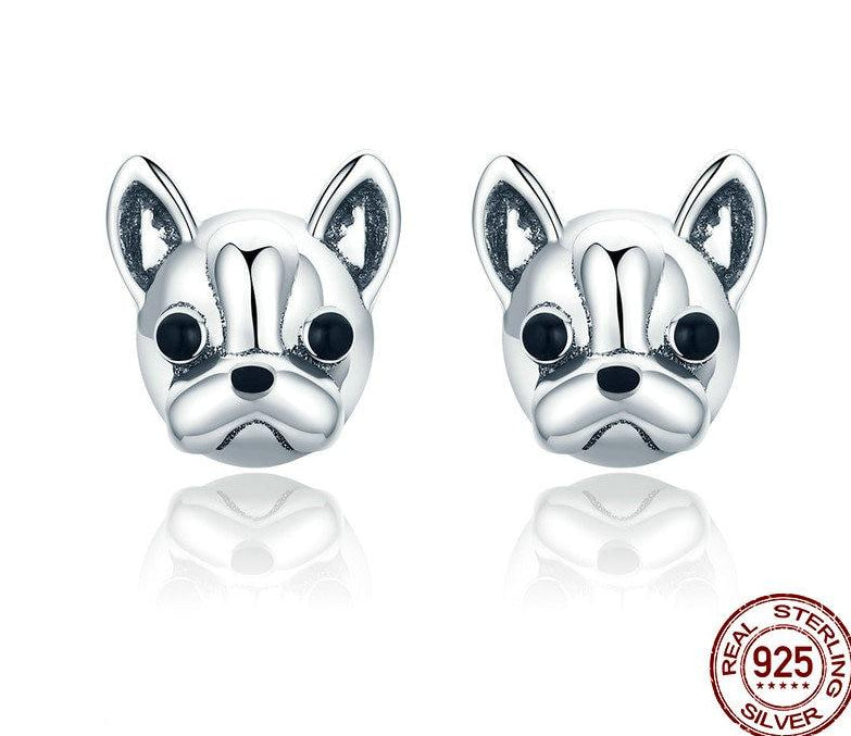 100% 925 Sterling Silver Loyal Partners French Bulldog Dog Small Stud Earrings for Women