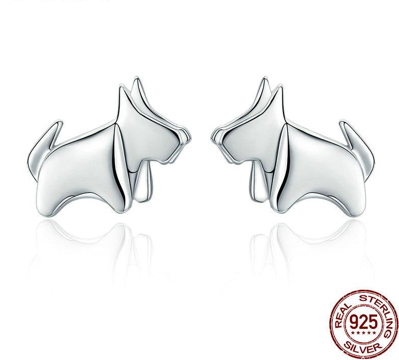 925 Sterling Silver Statement Dog Small Stud Earrings for Women Sterling Silver Jewelry, Great Gift