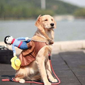 Cotton Material cute Cowboy Dog Rider Costume Dogs Coat Clothes Dress Up