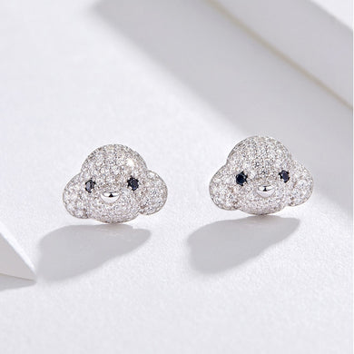 Poodle Dog Stud Earrings 925 Sterling Silver