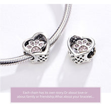 Load image into Gallery viewer, Luxury Heart Dog Paw 925-Sterling Silver Pink  Bracelet Pendant