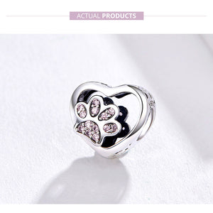 Luxury Heart Dog Paw 925-Sterling Silver Pink  Bracelet Pendant