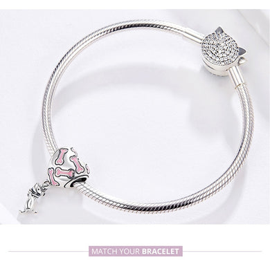Dog Charm Jewelry 925 Sterling Silver Pink Bone Charm for Bracelet