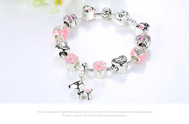 Cute Pink Dog 925-Silver Charm Bracelet for Dog Lovers