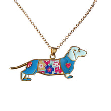 Load image into Gallery viewer, Necklace Pendant Fashion Jewelry For Women heart Enamel dachshund Dog