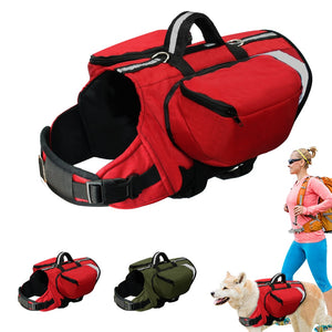 Dog Backpack Harness, Outdoor Vest Harnesses Travel, Camping, Hiking Backpack Saddle Bag Carrier for Medium to Large Dogs