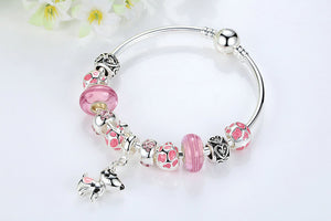Silver Lovely Dog Pendant Pink European Glass Beads Charm Bracelets & Bangles Jewelry