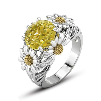 New High Quality Yellow White CZ Cubic Zircon, Silver, Flower Ring For Women , Great Gift Idea