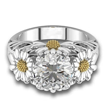 Load image into Gallery viewer, New High Quality Yellow White CZ Cubic Zircon, Silver, Flower Ring For Women , Great Gift Idea