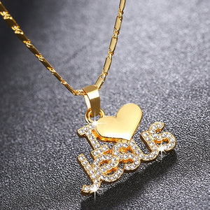 "Fashion Crystal ""I Love Jesus"" Heart Pendant Necklace With Metal Chain Letter Rhinestone Religion Christian Jewelry Great Gift"