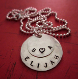Personalized Handstamped Necklace with 2 Sterling Silver Layers